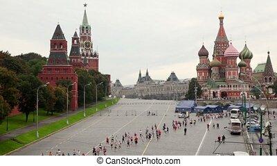 People run on Vasilevsky descent in XXX Moscow International Peace Marathon
