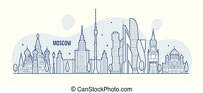 Moscow skyline, Russia city buildings vector - Moscow...