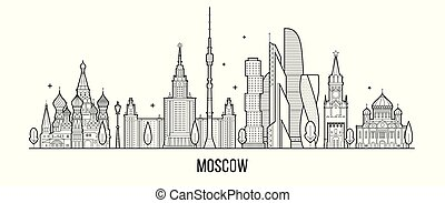 Moscow skyline, Russia vector city buildings line - Moscow...