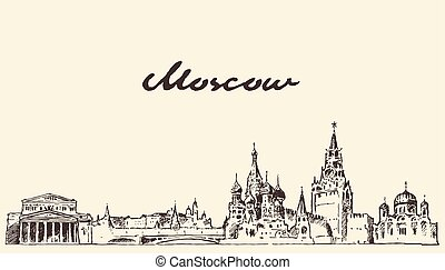 Moscow skyline Russia vector hand drawn sketch