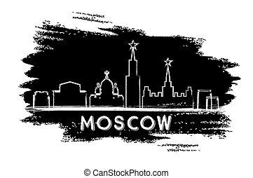 Moscow Skyline Silhouette. Hand Drawn Sketch.