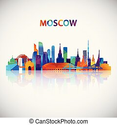 Moscow skyline silhouette in colorful geometric style.