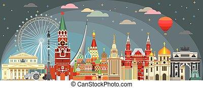 Moscow skyline vector 3