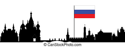 moscow skyline with russian flag