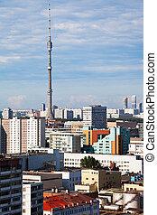 Moscow skyline with TV tower - Moscow skyline with Ostankino...