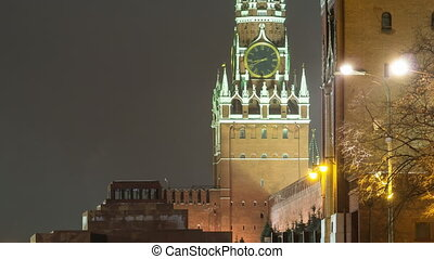 Moscow, Spasskaya tower of Kremlin at winter night. timelapse