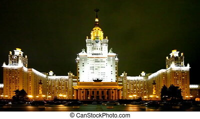 Moscow State University in Russia at night. - Moscow, Russia...