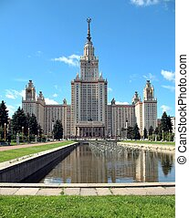 Moscow State University in the city of Moscow, Russia. Public building, educational institution.