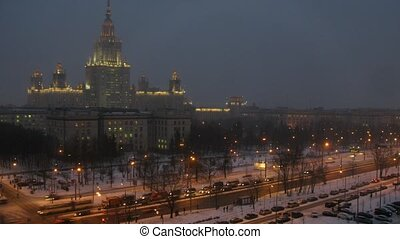 Moscow State University in winter at evening, time lapse