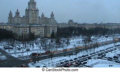 Moscow State University in winter at night, time lapse