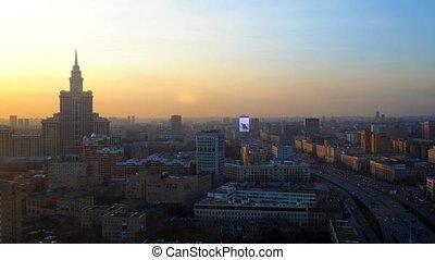 Moscow sunset time lapse. Leningradsky prospekt avenue ....