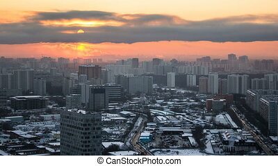Moscow. Sunset with clouds over buildings timelapse, Russia