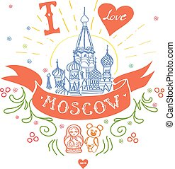 Moscow Symbol. St Basils Cathedral, Red Square, Kremlin, Moscow, Russia. Travel vector hand drawn sketch illustration.
