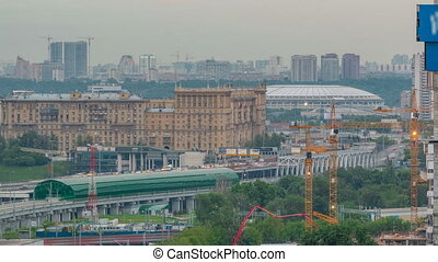 Moscow timelapse, evening view of the third transport ring and the central part of Moscow's rings, traffic, car lights