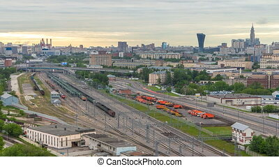 Moscow timelapse, evening view of the third transport ring...