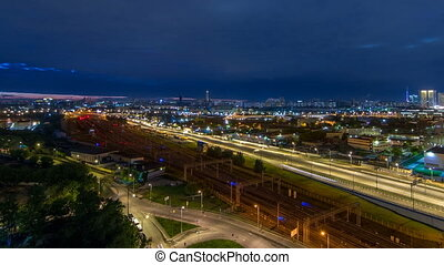 Moscow timelapse, night view of the third transport ring and...