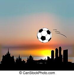 Moscow vector skyline with football ball
