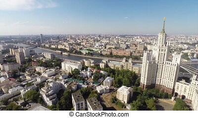 Moscow - Panoramic aerial view of the center of Moscow with...