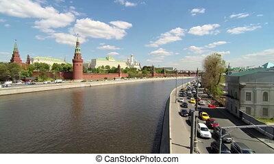 Moscow view. Kremlin, Golden dome churches, river. Car...