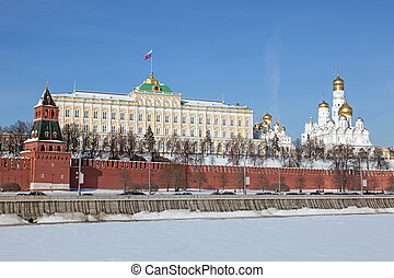 Moscow. View of Kremlin with Moskva river in foreground. Winter