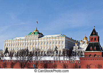 Moscow. View of Kremlin with Moskva river. Winter