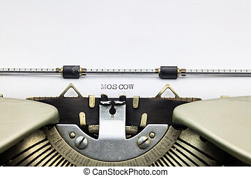 Moscow word on white sheet - Typewriter paper with word...