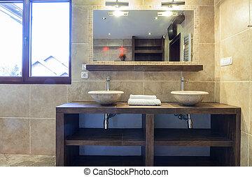 mosdókagyló, fürdőszoba, modern