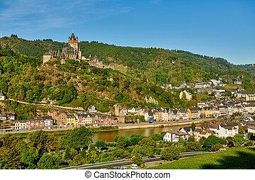 moselle, cochem, château, allemagne, reichsburg, ville, rivière