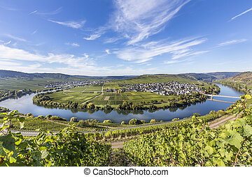 Moselle river loop in Trittenheim, Germany.