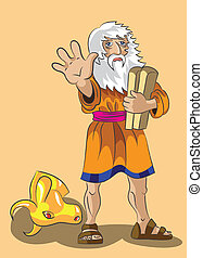 Moses holds in a hand stones with 10 precepts and forbids to approach to the head of a golden calf