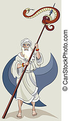 Moses and serpent - Moses made a copper serpent and set it ...