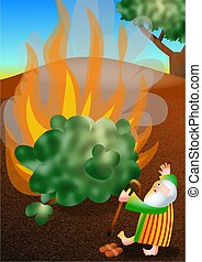 Really cute cartoon illustration of Moses standing in wonder and amazement as he sees the miraculous sight of the bush burning without being consumed by the flames.