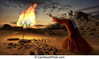 Moses and the burning bush. Story of book of exodus in...