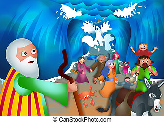 A cartoon biblical illustration depicting the children of israel coming out of the other side of the red sea.