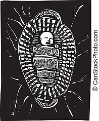 Moses Basket - Woodcut style image of the baby Biblical...