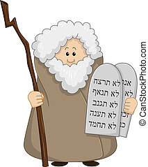 Moses Holding The Ten Commandments - Vector illustration of...