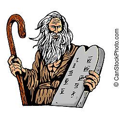 moses, mandamientos, proceso de llevar, diez, tableta