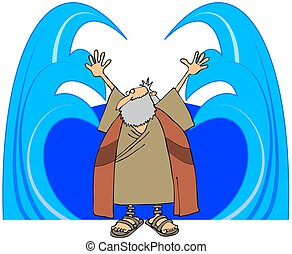 This illustration depicts Moses with his arms outstretched parting the waters.