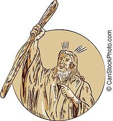 Moses Raising Staff Circle Etching - Etching engraving...