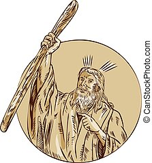 Moses Raising Staff Circle Etching - Etching engraving...