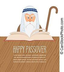 Moses reading Passover Haggadah . happy Jewish holiday