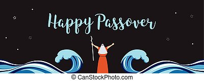 Moses separate sea for passover holiday over nigt background, flat design vector