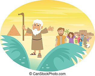 Cute cartoon of Moses splitting the red sea with the Israelite leaving Egypt. Eps10