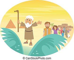 Moses Splitting The Sea - Cute cartoon of Moses splitting...