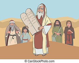 Moses the prophet with Stone Tablets and ancient jewish ...
