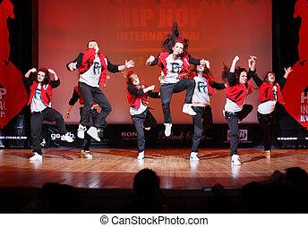 moskauer , -, märz, 27:, f-team, gruppe, tanz, an, hip hop,...