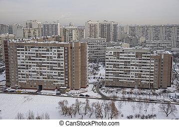 moskauer , winter., schneebedeckt, hof, von, wohnhaeuser, komplex