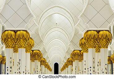 moskee, interieur, verenigd, zayed, arabier, sjeik, emiraten
