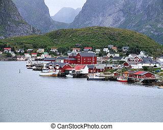 Moskenes - fishing town and ferry harbor in Lofoten archipelago. Norway, Scandinavia.