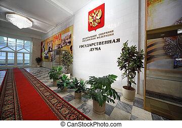 moskou, -, november, 8:, binnen van, gebouw, van, staat,...